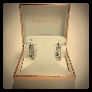Chrystina Genuine Crystal Silver Loop Earrings